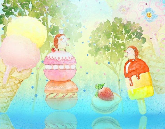 gelado de pequenos animais frescos Material de ilustração Imagens de ilustração