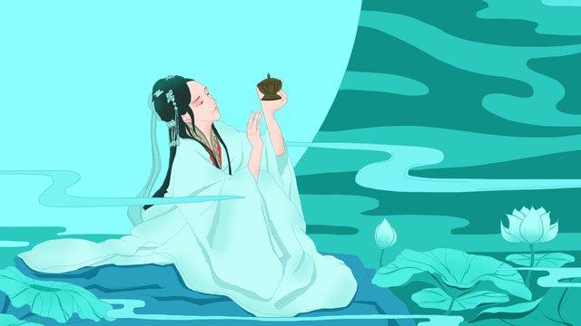 中国風の美しいイラスト古代のスタイル  美しさ  イラスト PNGおよびPSD illustration image