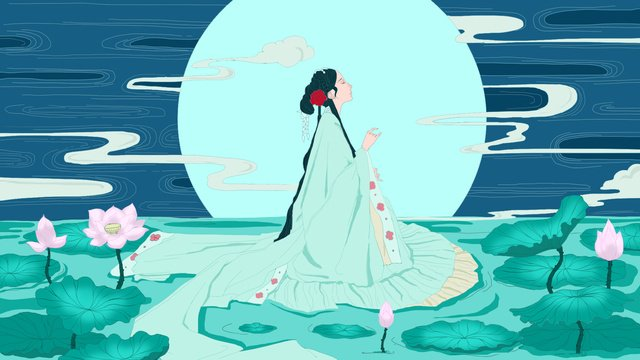 chinese style ancient wind girl beautiful romantic lotus pond night llustration image