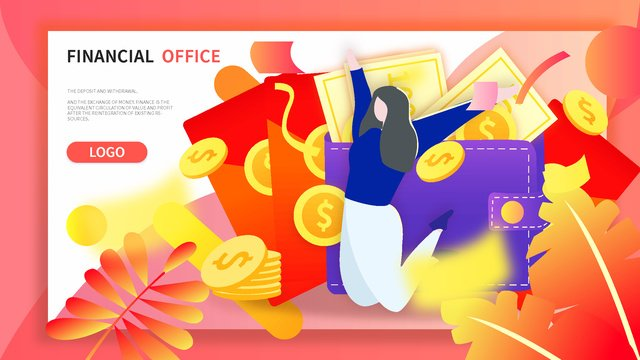 financial management red envelope gold coin winning welfare draw flat gradient illustration llustration image