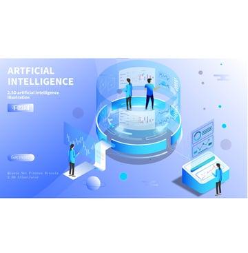 Small fresh blue gradient 2.5d artificial intelligence illustration, Artificial Intelligence, Intelligent, Artificial illustration image