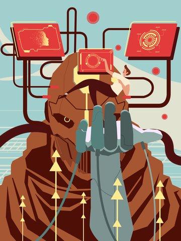 Artificial intelligence robot wake up flat illustration, Artificial Intelligence, Robot Wake Up, Awareness illustration image