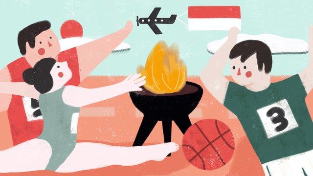 asian games khai mạc ngọn đuốc thể thao vận động viên minh họa nhỏ tươi Hình minh họa Hình minh họa