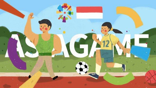 Trò chơi châu Á cuộc thi khai mạc tập thể dục hình minh họa nhỏ tươiĐại  Hội  Thể PNG Và PSD illustration image