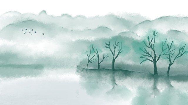 Август Привет китайский стиль художественный пейзаж оригинальная иллюстрация Ресурсы иллюстрации Иллюстрация изображения