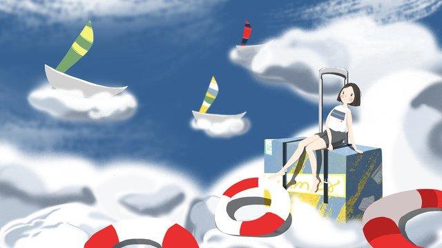8 월 안녕하세요 여름 여행 오션 소녀 일러스트 레이션 삽화 소재