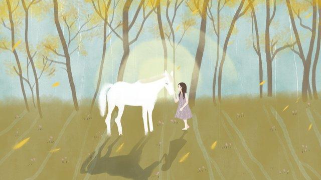 가 꿈꾸는 숲 흰 말과 십 대 소녀 손으로 그린 그림 삽화 소재