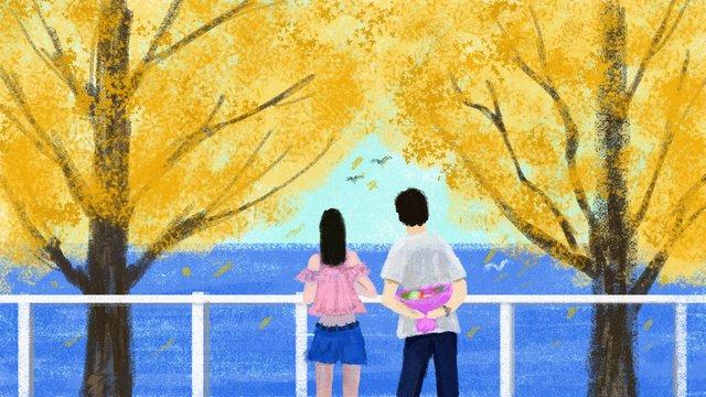 Original illustration of lovers under the autumn tree, Autumn Day, Fall, Lovers illustration image
