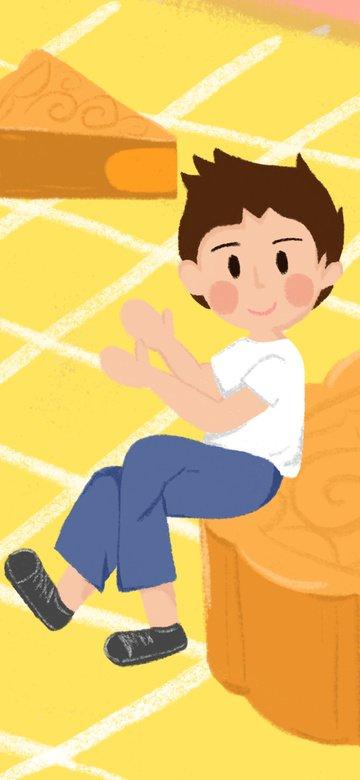 autumn mid festival boy and egg yolk lotus mooncake illustration cartoon fresh imej keterlaluan