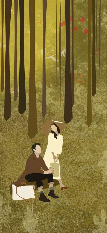 Autumn in the sunset fall Sunset illustration, Original, Beautiful, Emotion illustration image