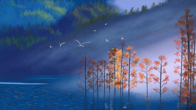 Осенний пейзаж красивый и целебный оригинальная ручная роспись иллюстрации Ресурсы иллюстрации Иллюстрация изображения