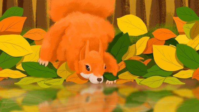 二十四qiuqiuの森の中のエルフは動物を治す秋の  秋の季節  あき PNGおよびPSD illustration image