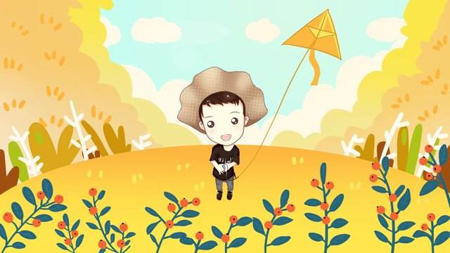 Autumn season little boy flying kite illustration, Autumnal, Autumn Season, Fall illustration image