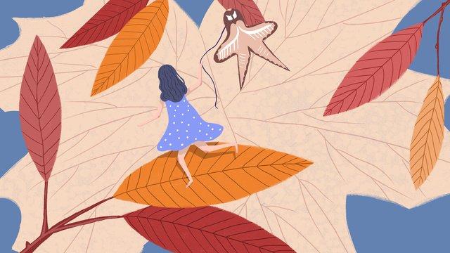 カイトを飛んでいる秋の女の子 イラストレーション画像