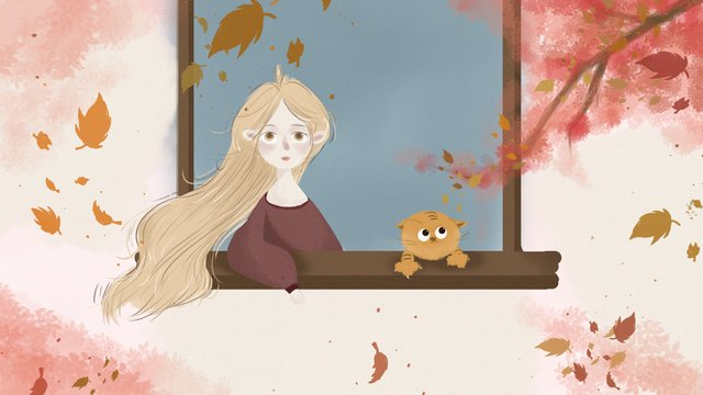 24番目の太陽系の前にいる女の子と猫の小さな新鮮なイラスト秋の  24ソーラーターム  あき PNGおよびPSD illustration image