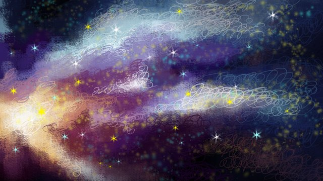 Hand drawn cure illustration nebula starry sky, Background, Poster, Decorative Paintings illustration image