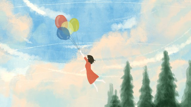 आकाश बादल लड़की के हाथ से तैयार चित्रण आसपास बैलून यात्रा चित्रण छवि चित्रण छवि