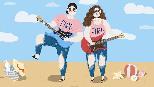 गर्मियों में समुद्र तट सूरज चमक गिटार जोड़ी यात्रा हाथ रोमांटिक चित्रण खींचा चित्रण छवि