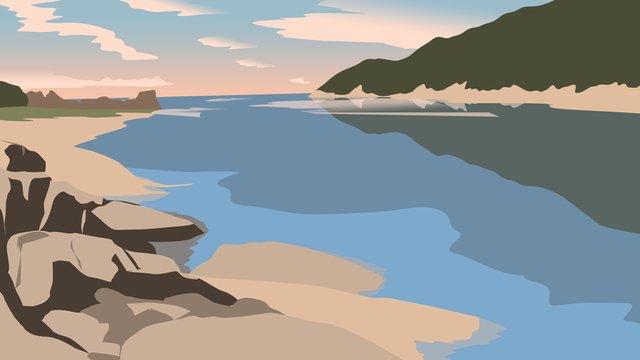 minh họa tháng tám hello beach by the sea Hình minh họa Hình minh họa