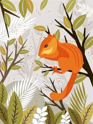 Impressão de pequenos animais frescos da ilustração pequeno esquiloLinda  E  Fresca PNG E Vetor illustration image