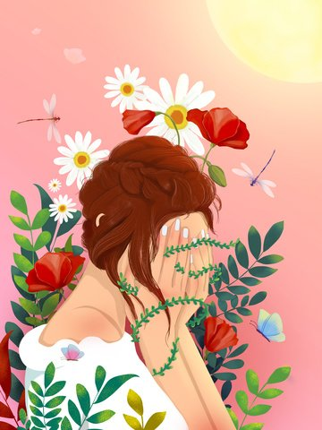 Beautiful fresh bouquet girl plants and insects under the sun, Beautiful, Fresh, Flower illustration image