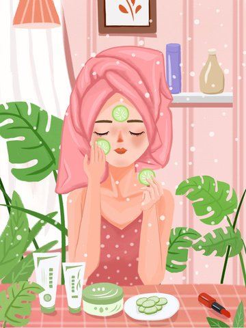 Beauty skin texture realistic girl skincare illustration llustration image