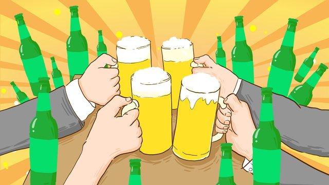 Oktoberfest open drink hand-painted original illustration, Beer Festival, Beer, Cheers illustration image