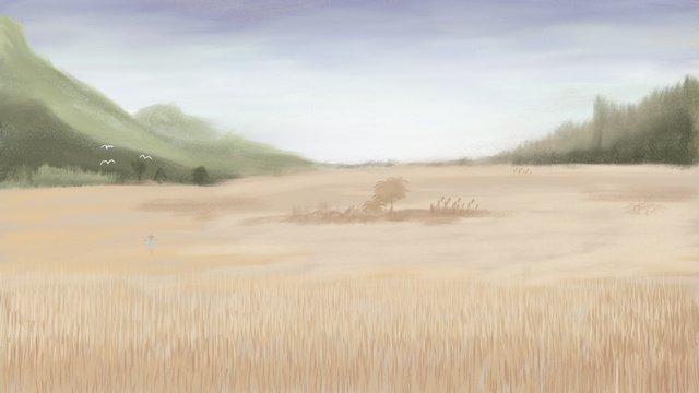 秋分秋分秋分秋の印象油絵田園の美ポスター イラスト素材 イラスト画像