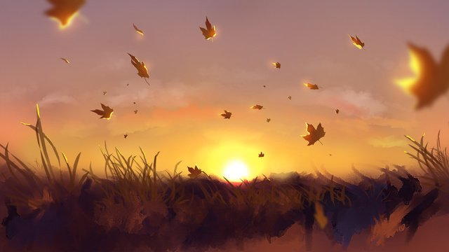 original illustration beautiful autumn evening llustration image