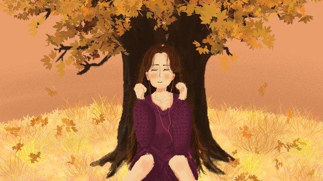 秋の木の女の子のイラストの下の24結び目 イラストレーション画像