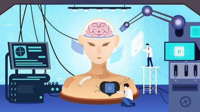 Flat biotechnology ai artificial intelligence, Biotechnology, Ai, Artificial Intelligence illustration image
