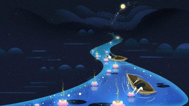 झोंगयुआन महोत्सव मूल लालटेन के लिए प्रार्थना करता है चित्रण छवि