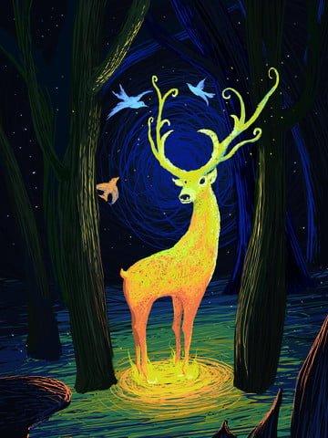 Forest and deer coil cure system elf illustration wallpaper illustration image