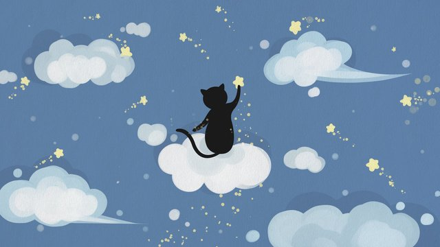 Blue sky and white clouds day cloud star, Starry Sky, Cat, Blue illustration image
