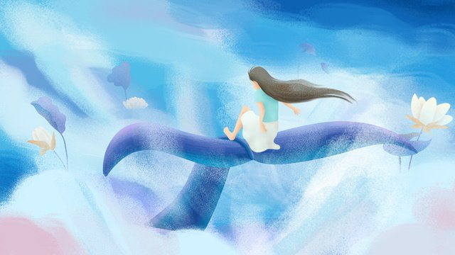 Original hand drawn illustration blue sky white sea and whale girl, Blue Sky, White Clouds, Blue illustration image