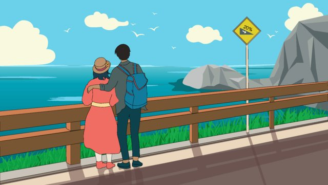 Blue sky white clouds couple seaside watching the sea youth love, Blue Sky, White Clouds, Couple illustration image