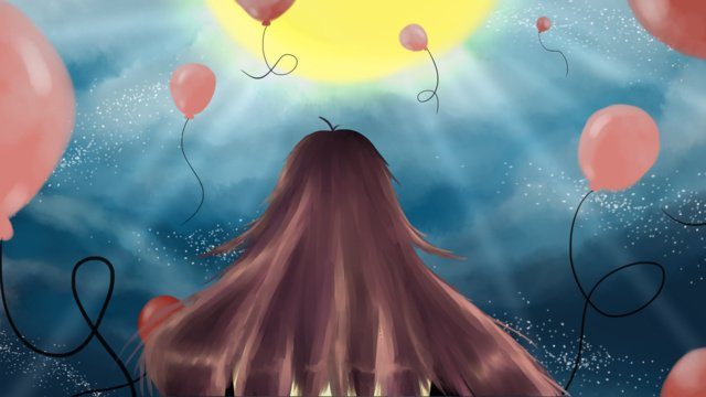 푸른 하늘을 바라 보는 소녀 삽화 소재