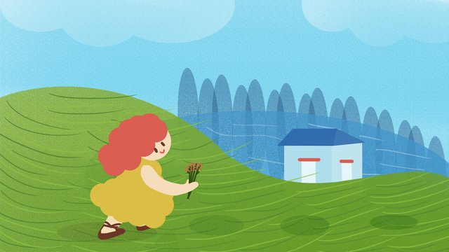 little fresh blue sky and white clouds under the girl picking flowers home illustration llustration image illustration image
