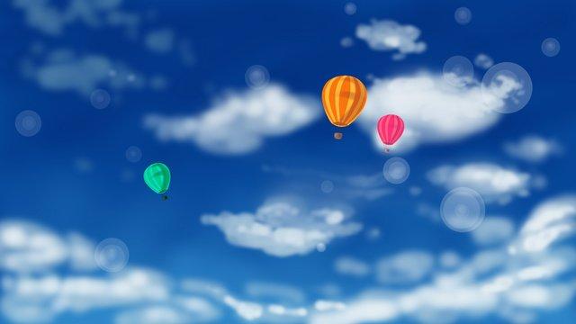 藍天白雲原創插畫 插畫素材