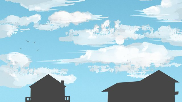 Blue sky white clouds house background illustration, Blue Sky, White Clouds, Houses illustration image