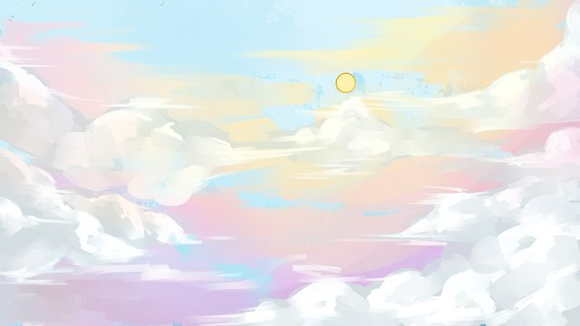 blue sky white clouds landscape illustration llustration image