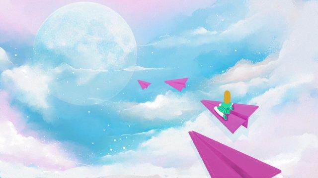 Blue sky and white clouds paper plane original healing system illustration llustration image
