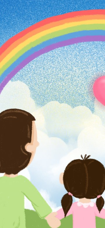 Blue sky white clouds rainbow father and daughter cartoon children illustration, Blue Sky, White Clouds, Rainbow illustration image