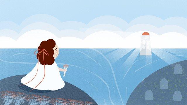 등대 소녀 벽지 포스터 그림에서 조금 신선한 모습 삽화 소재