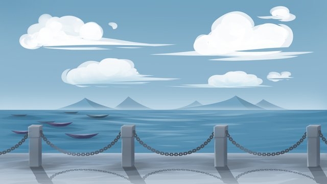 Blue sky White clouds seaside Blue sky and white clouds, Mountain, Coastal, Ferry illustration image