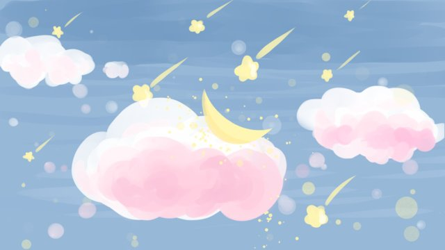 Blue sky white clouds cute star illustration, Blue Sky, White Clouds, Star illustration image