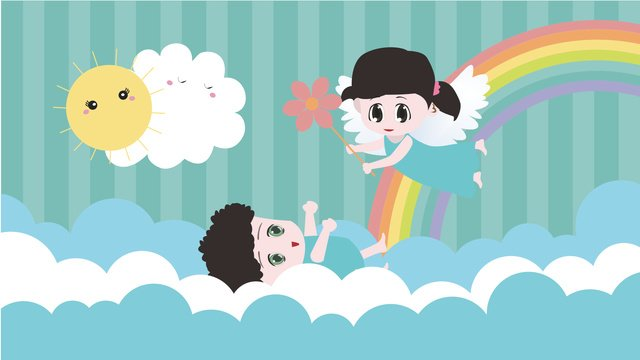 푸른 하늘과 흰 구름에서 노는 아이들 삽화 소재