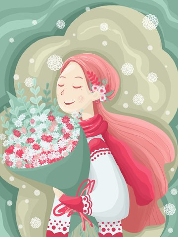 Bouquet girl beautiful small fresh cartoon illustration, Bouquet, Girl, Beautiful illustration image