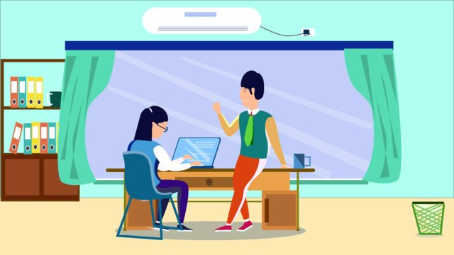 Business office character scene flat style illustration llustration image