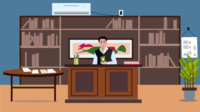 Boss office character scene flat style illustration llustration image illustration image